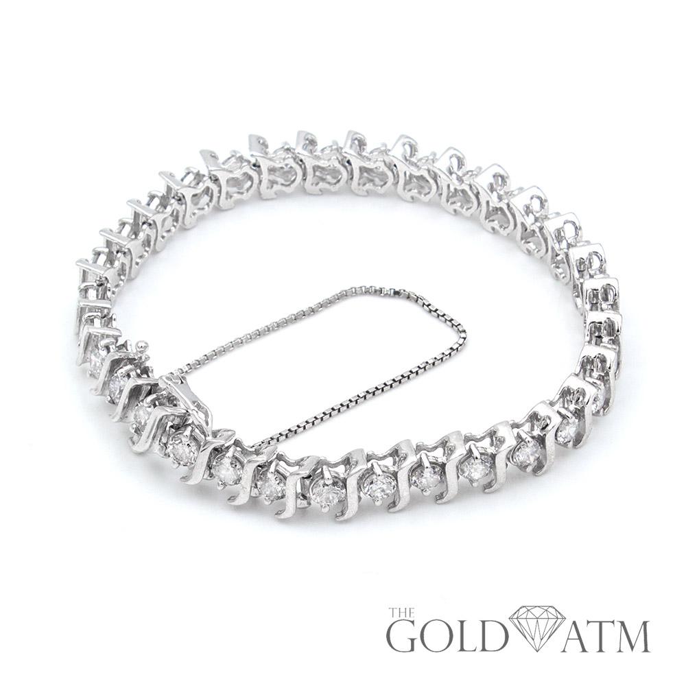 14k White Gold Diamond Tennis Bracelet The Gold Atm