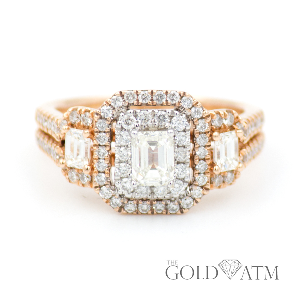 This is a photo of 44K Rose Gold Engagement Ring with Emerald Cut Diamonds from Kay Jewelers (44.44 cttw)