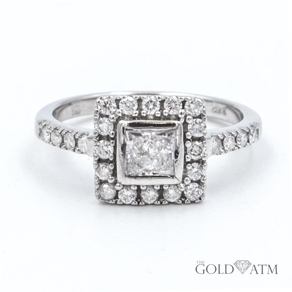 14k white gold princess cut diamond engagement ring 1. Black Bedroom Furniture Sets. Home Design Ideas
