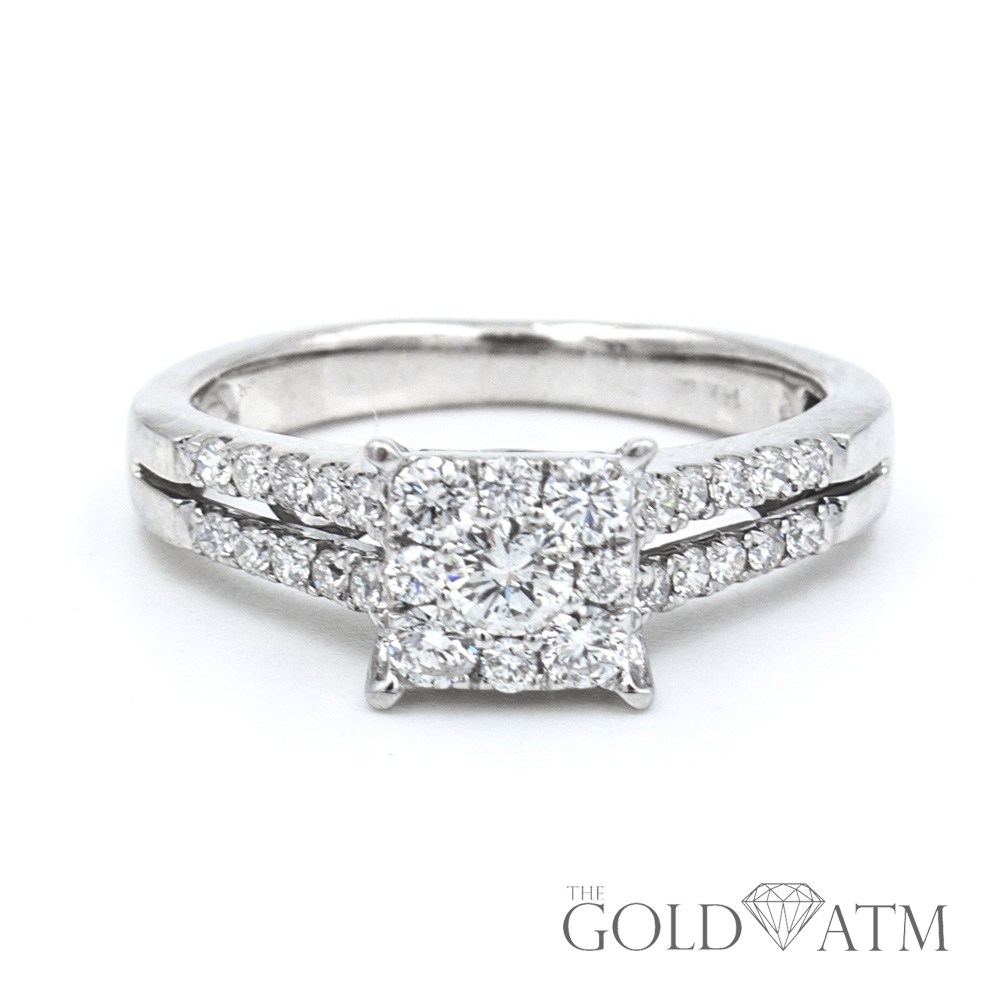 with ring and gold three stones in ascher cut tapered asscher side diamond rings stone center baguette white engagement