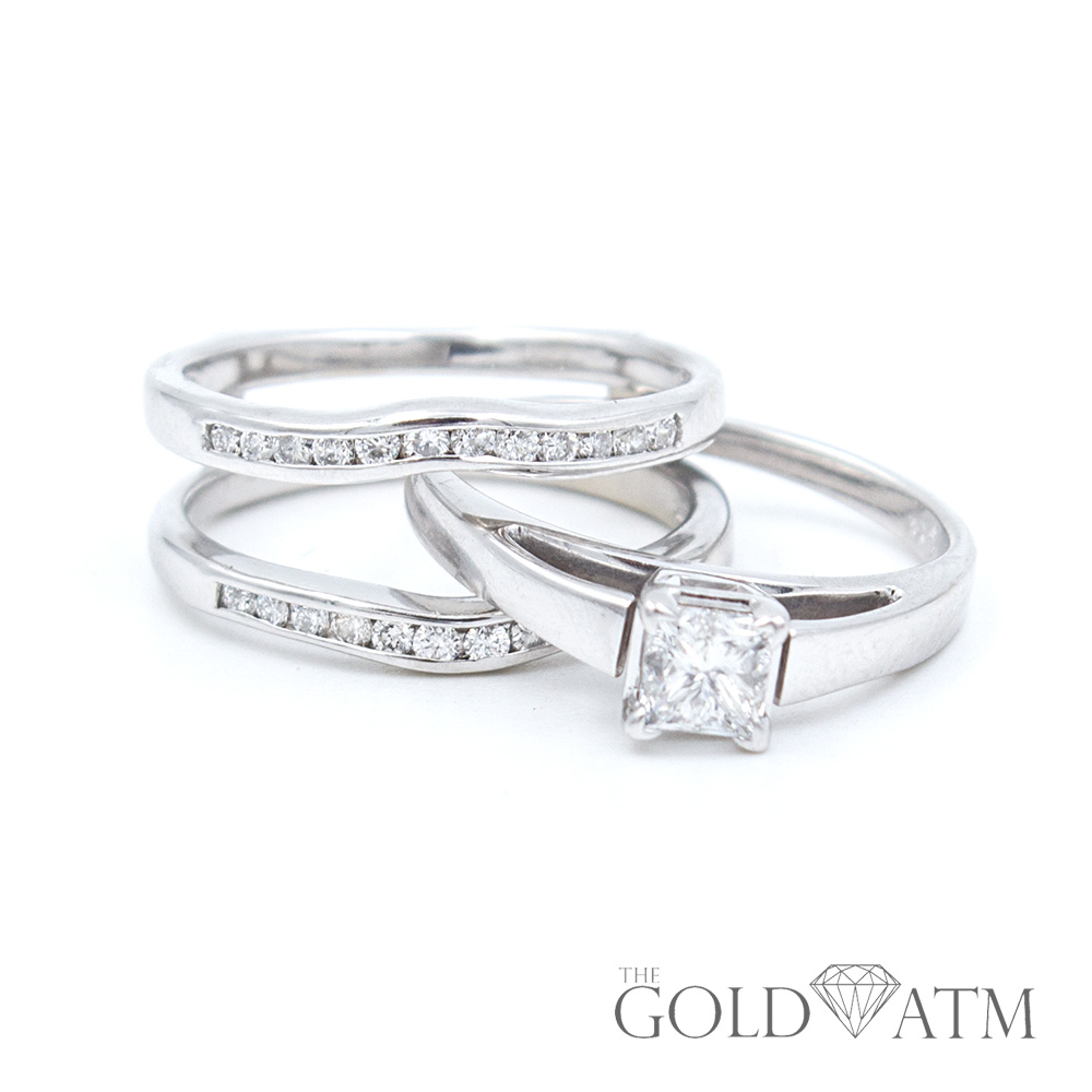 14K White Gold Engagement Ring Set (.50 cttw) - The Gold ATM