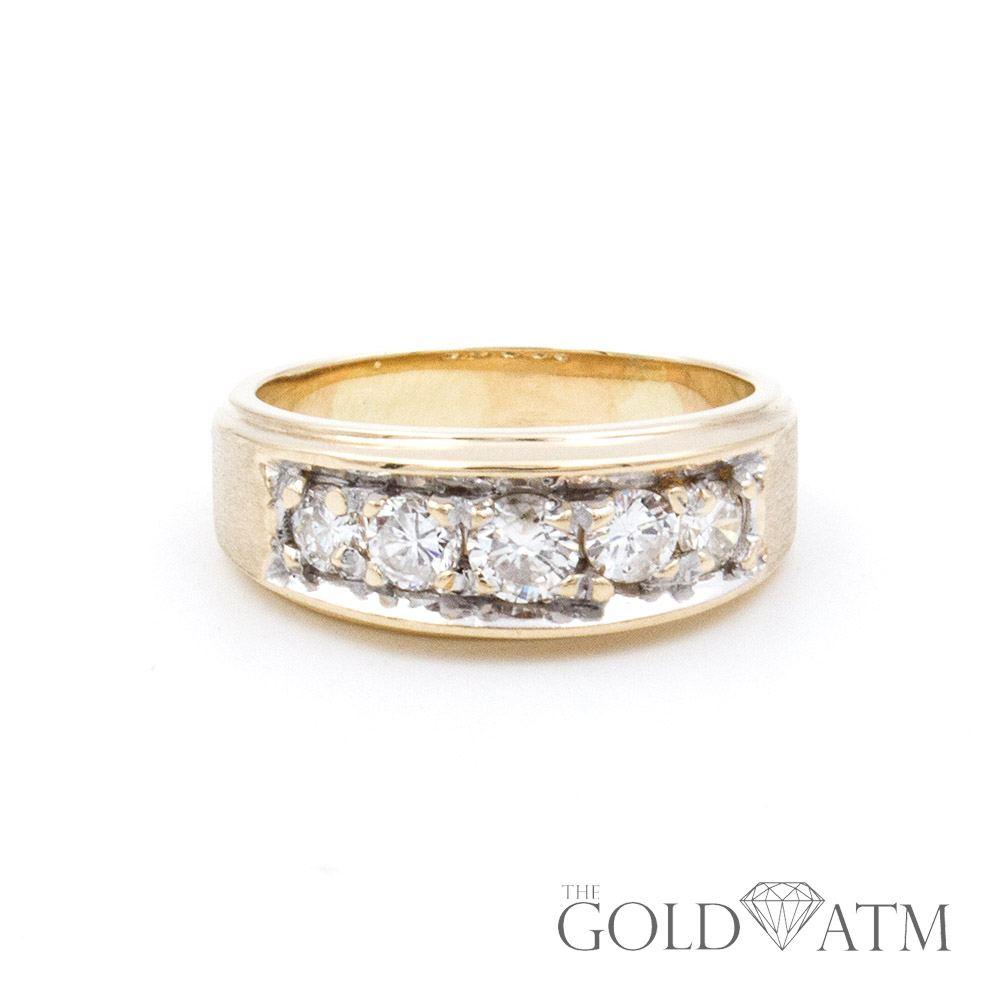 5fa625e533 14K Yellow Gold 5 Diamond Men's Wedding Band - The Gold ATM