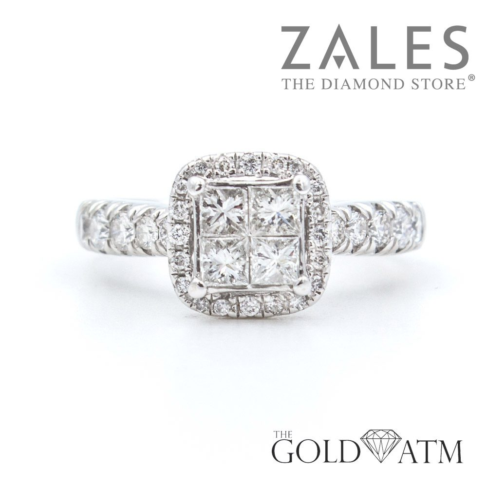 14k White Gold Diamond Engagement Ring With 4 Square