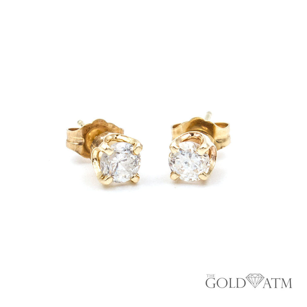 14k Yellow Gold Diamond Stud Earrings 60 Cttw