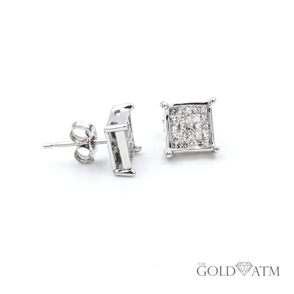 14k White Gold Square Diamond Cluster Earrings Originally From Kay Jewelers 1 Cttw The Gold Atm
