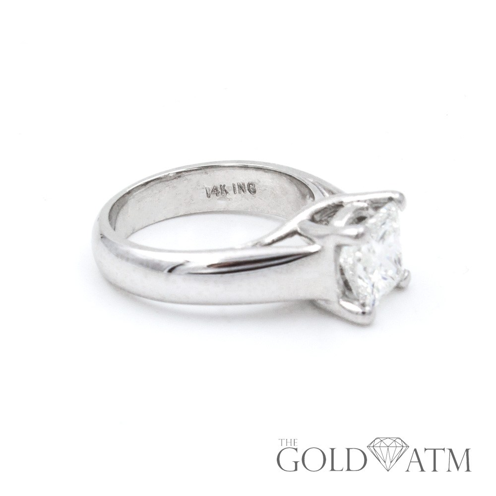 14K White Gold 1.5 Ct Princess Cut Diamond Ring