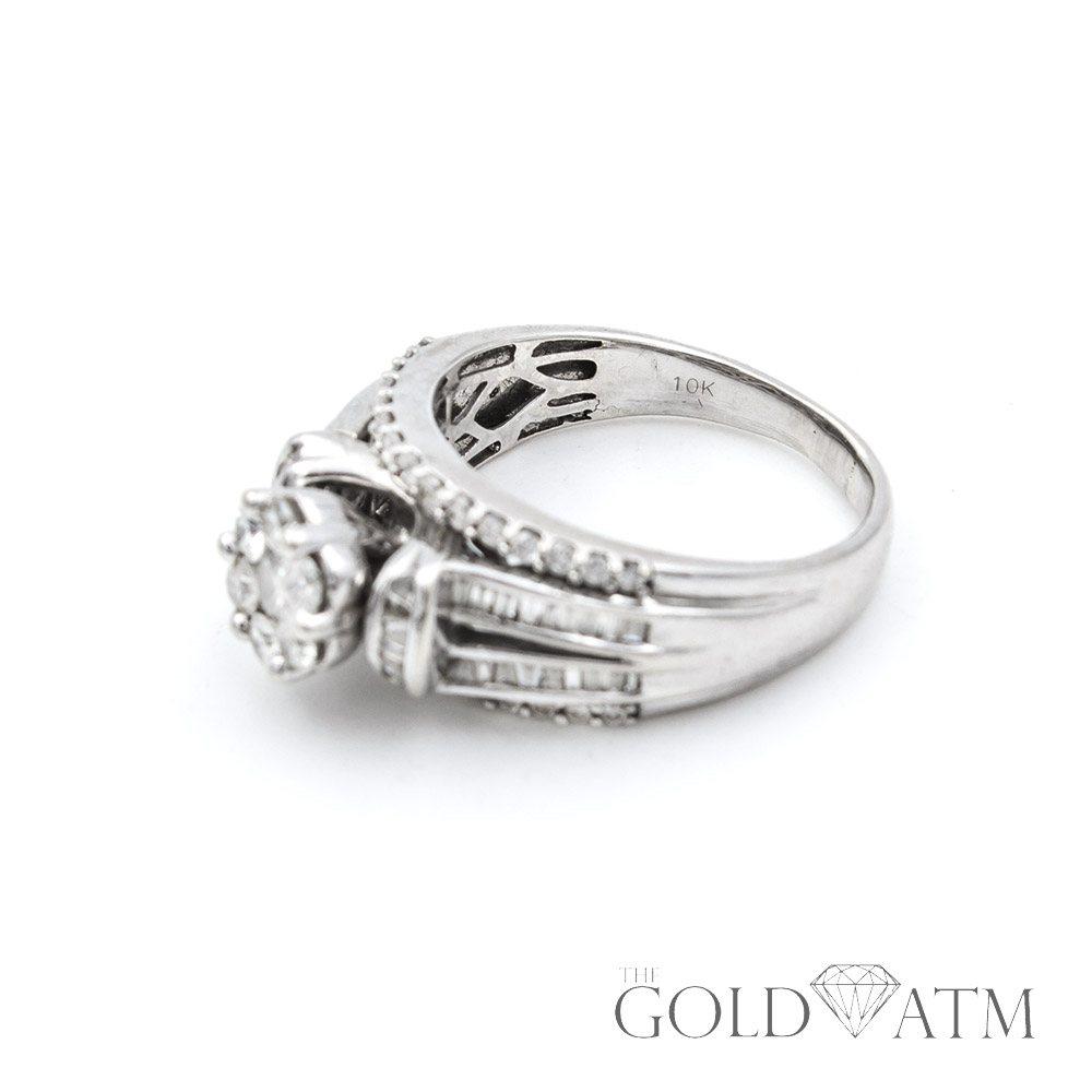 10k white gold cluster diamond engagement ring the gold atm. Black Bedroom Furniture Sets. Home Design Ideas