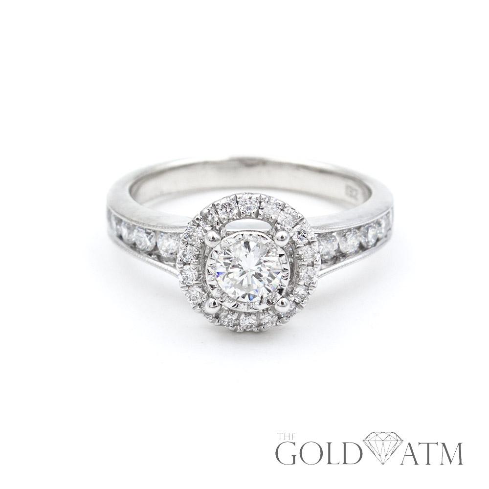 Round Diamond Ring Surrounded By Diamonds