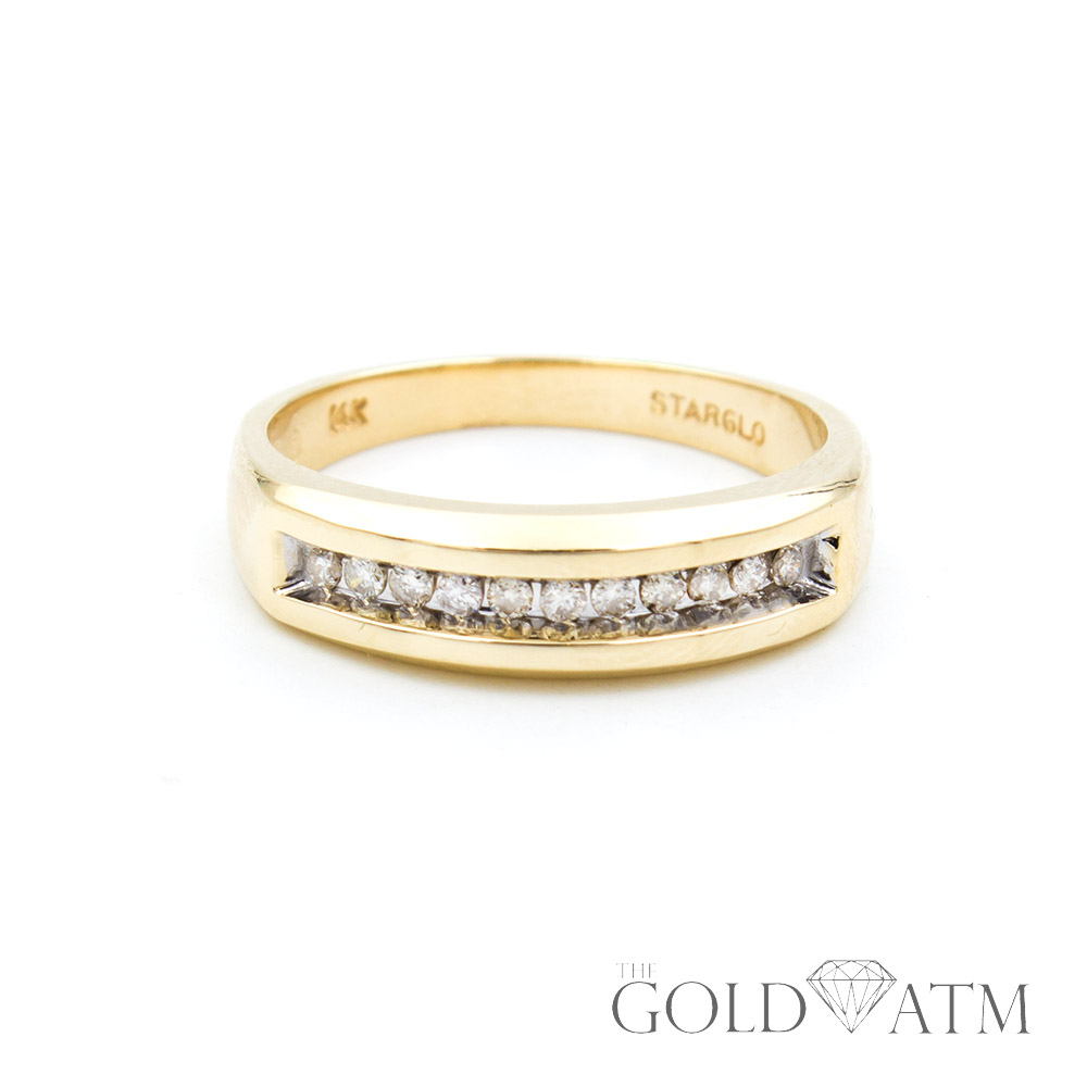 4f03f1a3ee 14K Yellow Gold Diamond Men's Wedding Band (Size 10 1/2) - The Gold ATM