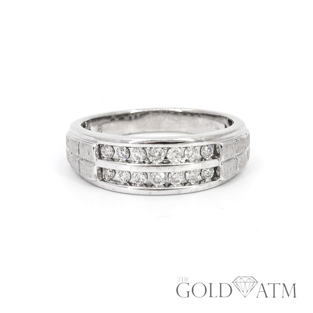 10K White Gold Mens Diamond