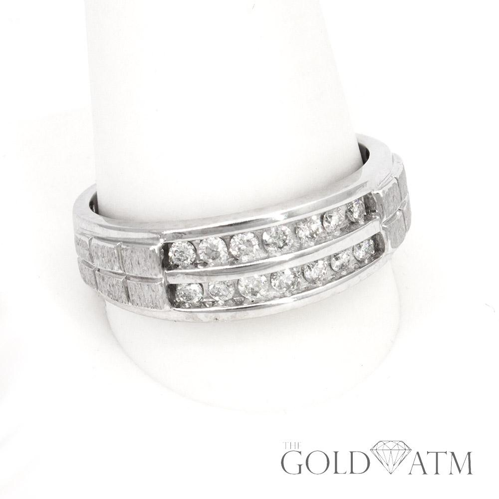 Sku 196 3 Gold Atm 10k White Gold Mens Diamond