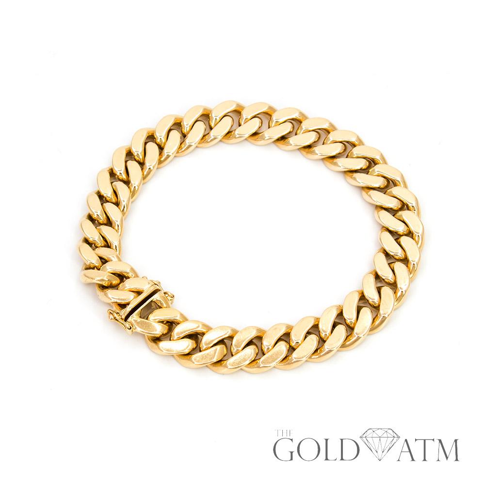 14K Yellow Gold Cuban Chain Bracelet