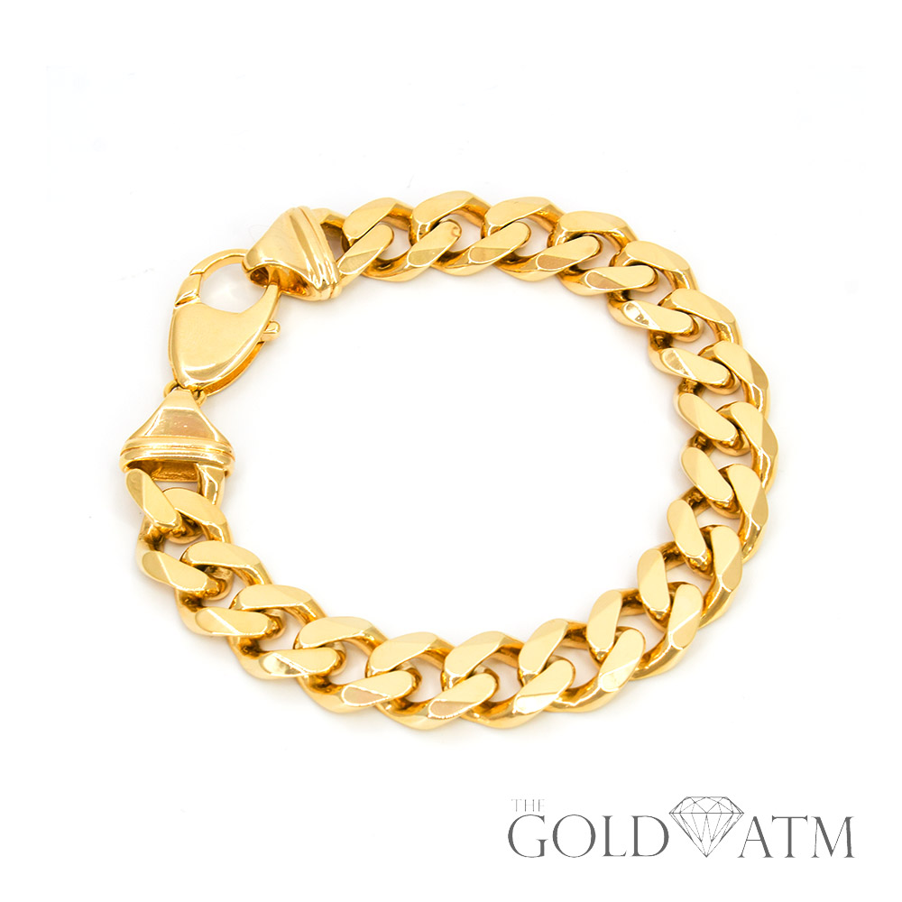 Cuban Link Chain For Sale >> 14k Yellow Gold Cuban Link Chain Bracelet 6 Inches