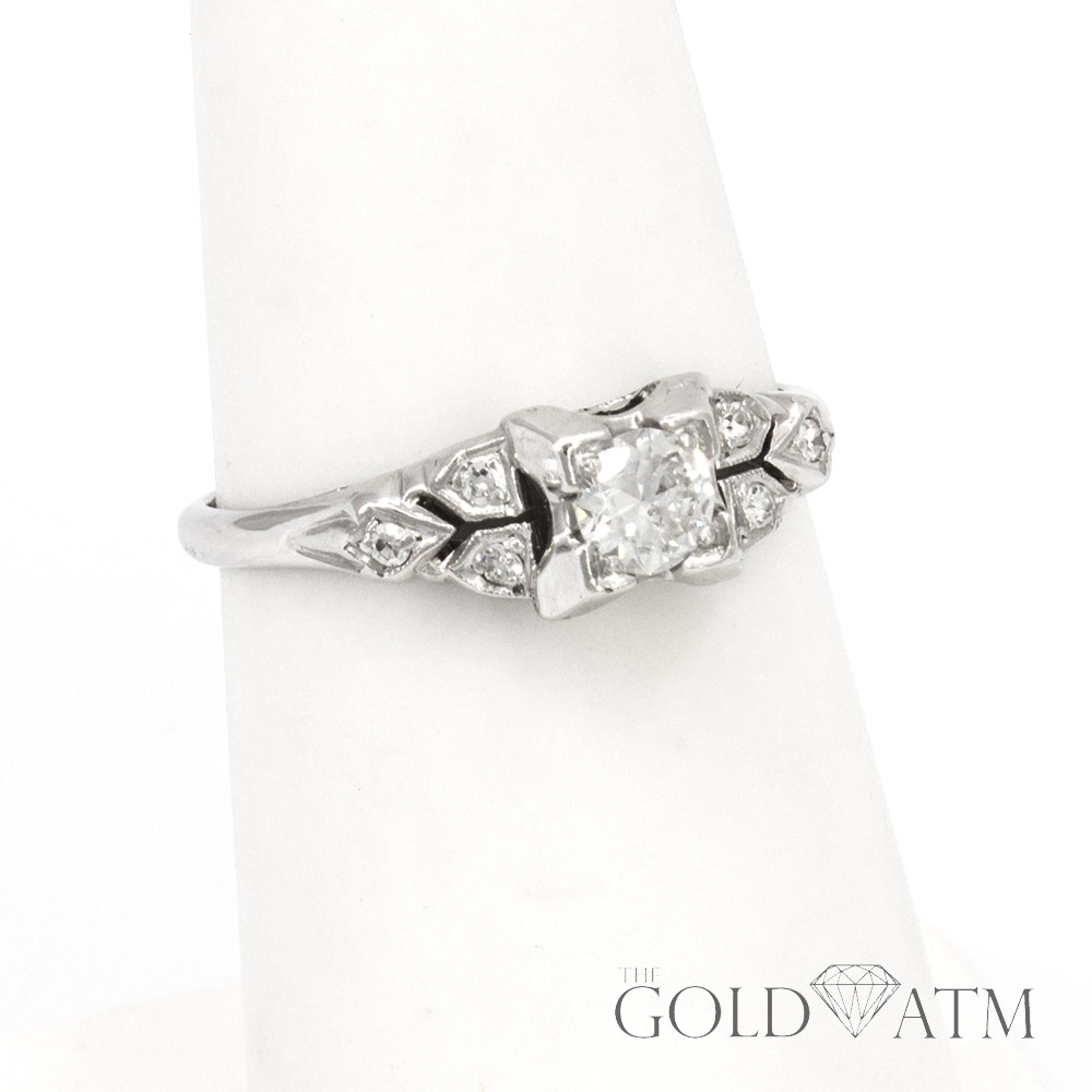 estate jewelry near me vintage platinum engagement ring size 5 1 2 the gold atm 6053