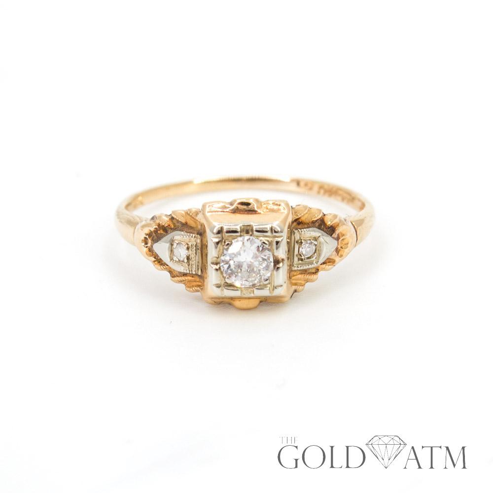 Vintage 14k Yellow Gold Diamond Engagement Ring Size 6 1