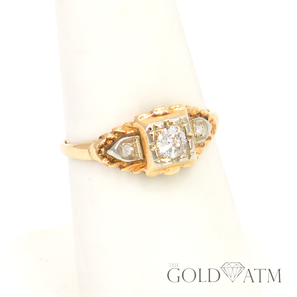 estate jewelry near me vintage 14k yellow gold engagement ring size 6 1 4982