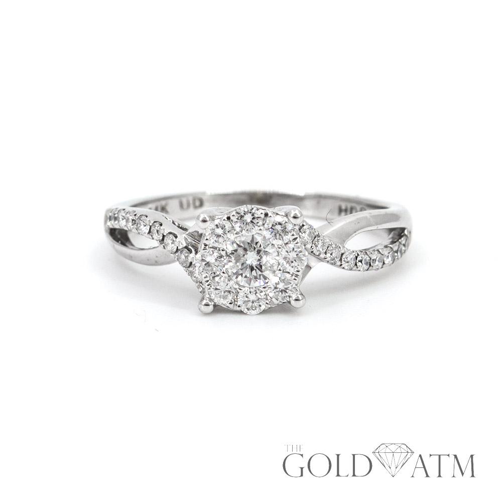 14k White Gold Diamond Engagement Ring 55 Cttw The