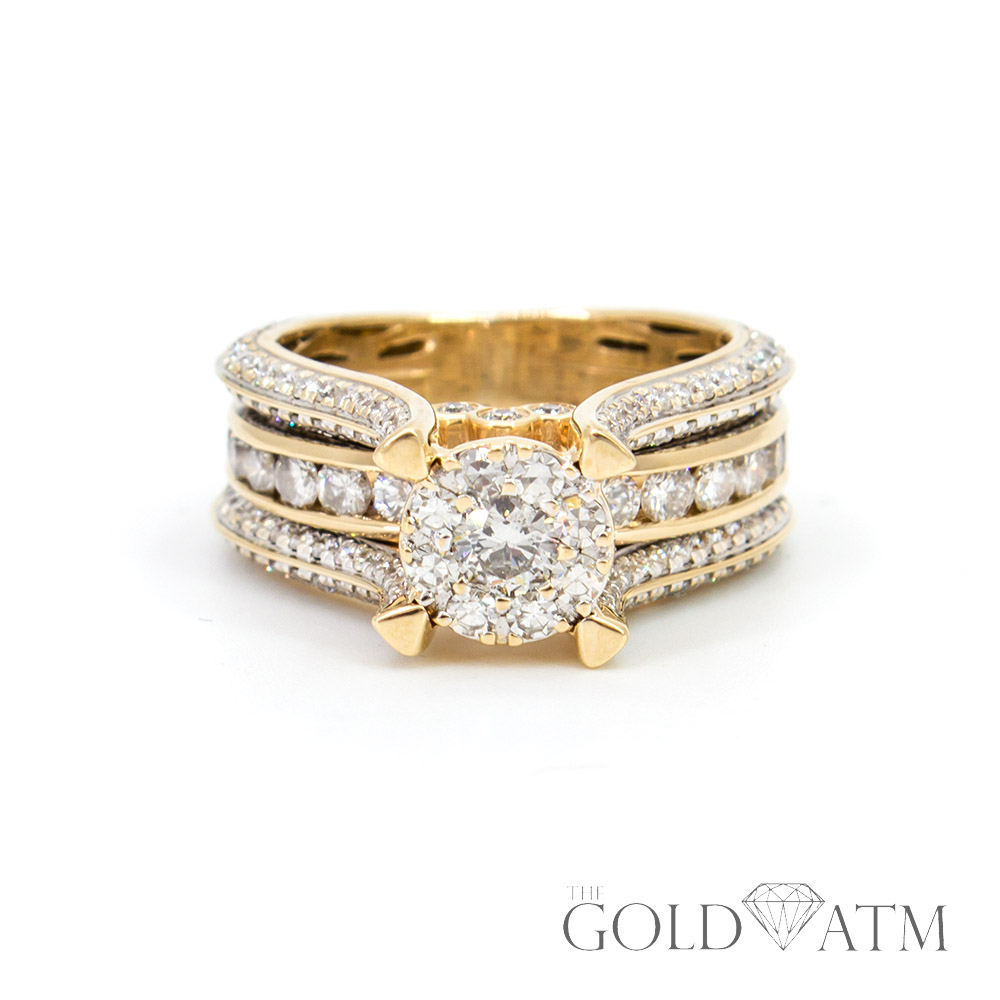 14k Yellow Gold Diamond Engagement Ring 1 50 Cttw The
