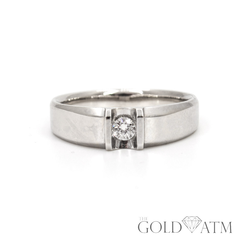 4d6a246770 14K White Gold Solitaire Diamond Men's Wedding Band (Size 9) - The ...