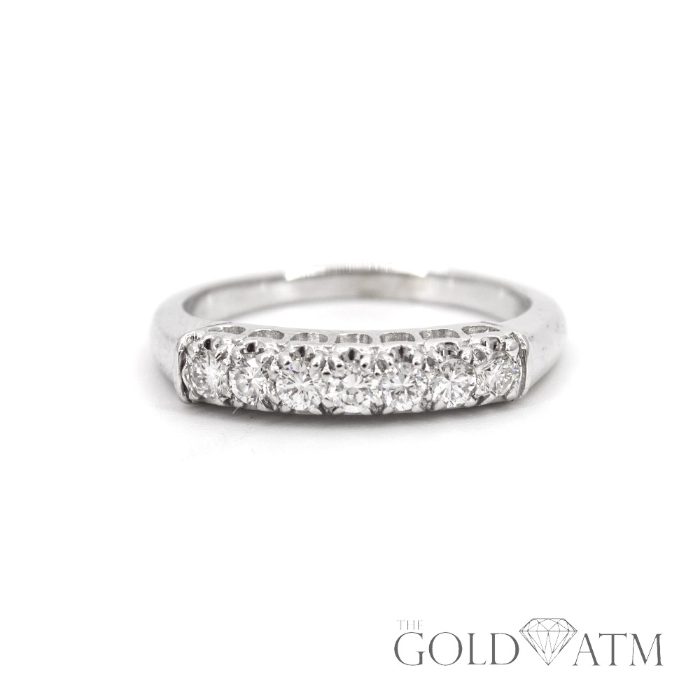 14K White Gold Vintage Women s Diamond Wedding Band (Size 7 1 2 ... 5b782094b7