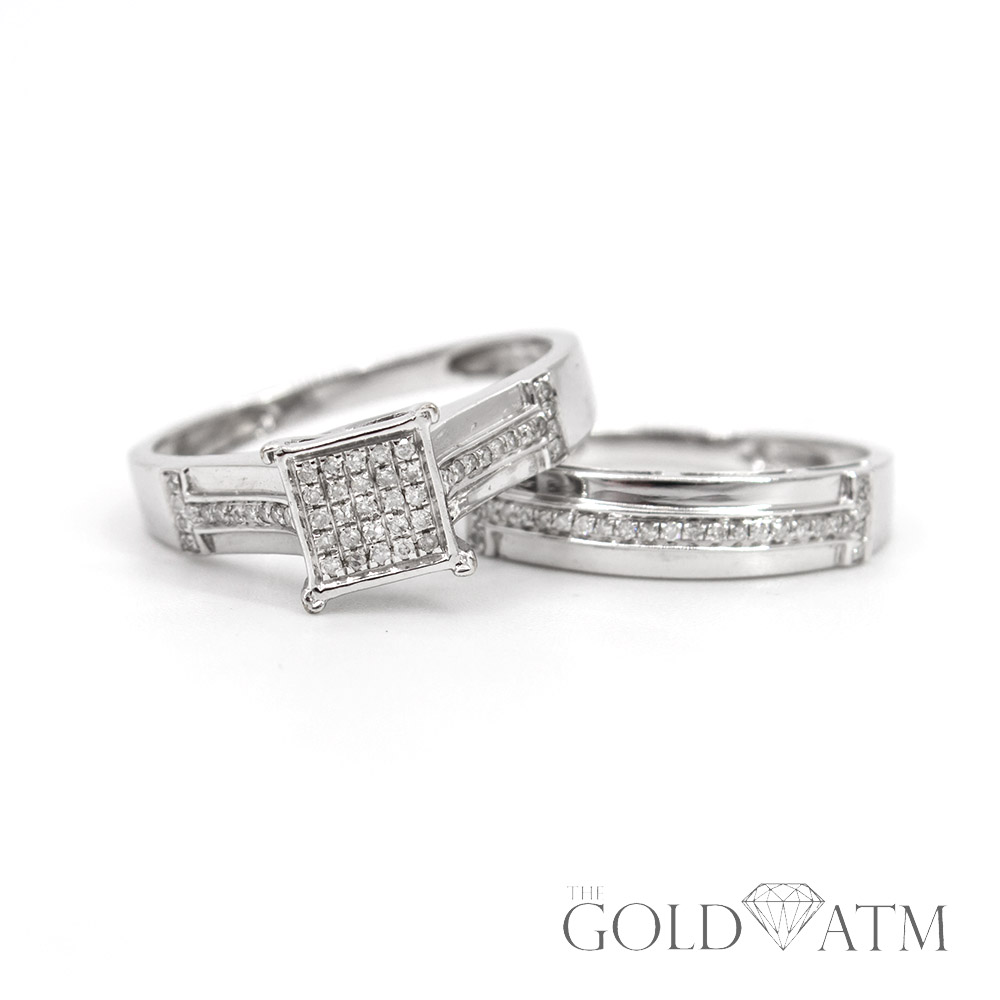 10k white gold diamond engagement ring set the gold atm. Black Bedroom Furniture Sets. Home Design Ideas
