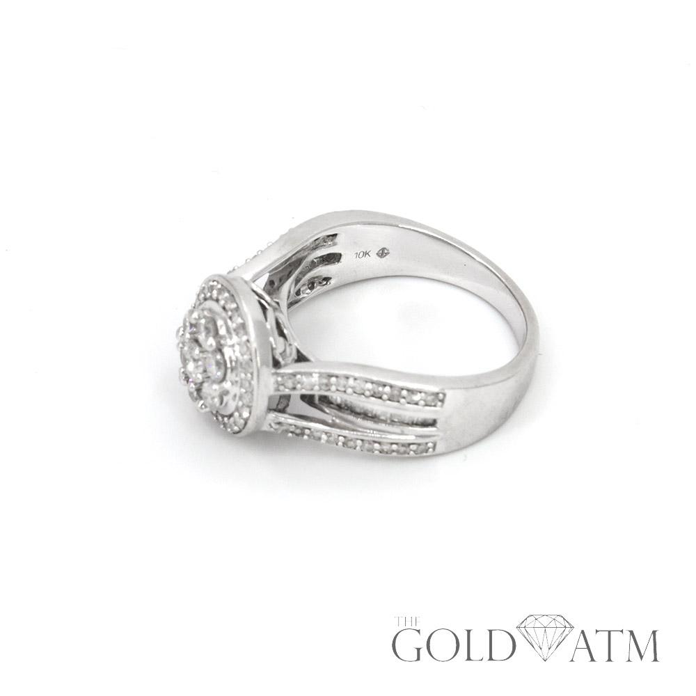 10k White Gold Cluster Diamond Engagement Ring Size 7