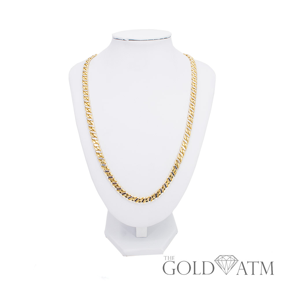 estate jewelry near me 10k combination yellow and white gold cuban link chain 20 3546