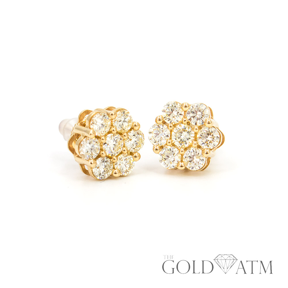 14k Yellow Gold Diamond Cer Earrings