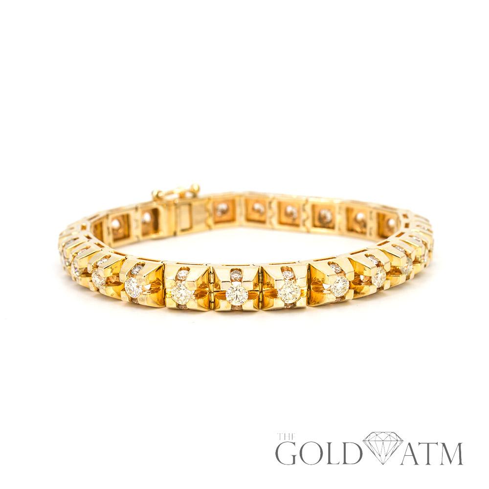 K Yellow Gold Diamond S Link Tennis Bracelet