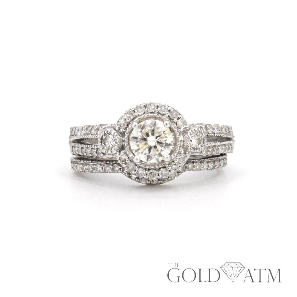 14k white gold diamond engagement ring set the gold atm. Black Bedroom Furniture Sets. Home Design Ideas