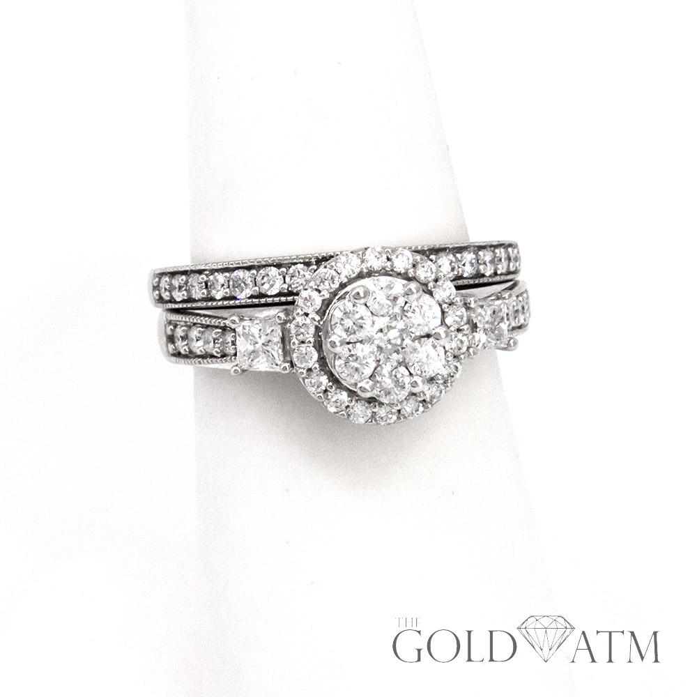 10k white gold custer diamond engagement ring set 65. Black Bedroom Furniture Sets. Home Design Ideas